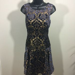 Betsy Johnson Dress Size 4 Gold/navy Excellent Con